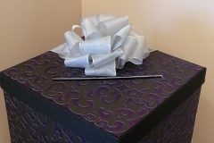 Purple and black damask envelope box