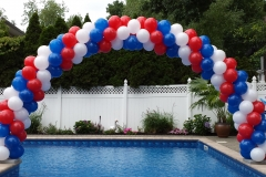 red white blue pool arch